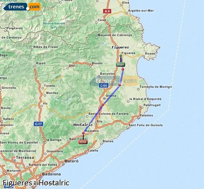 Agrandir la carte Trains Figueres Hostalric