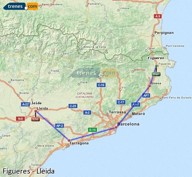 Enlarge map Trains Figueres to Lleida