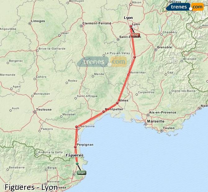 Agrandir la carte Trains Figueres Lyon