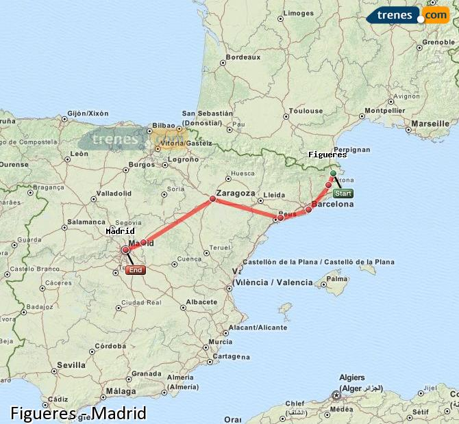 Karte vergrößern Züge Figueres Madrid