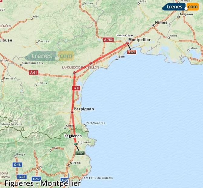Enlarge map Trains Figueres to Montpellier