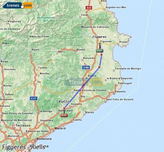 Agrandir la carte Trains Figueres Riells