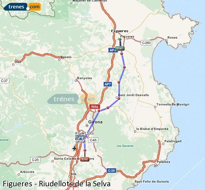 Ingrandisci la mappa Treni Figueres Riudellots de la Selva
