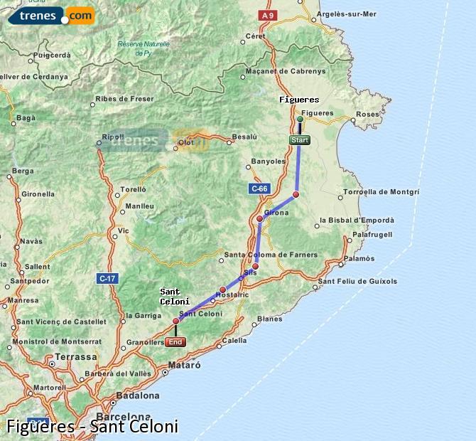 Karte vergrößern Züge Figueres Sant Celoni