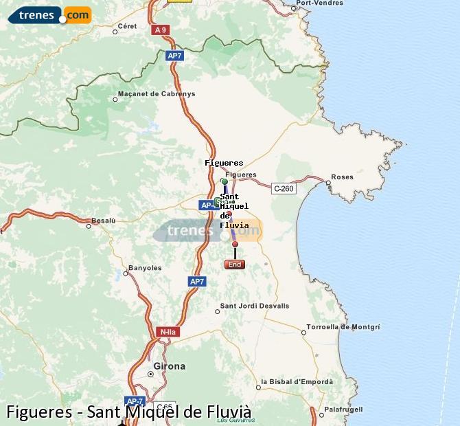 Karte vergrößern Züge Figueres Sant Miquel de Fluvià