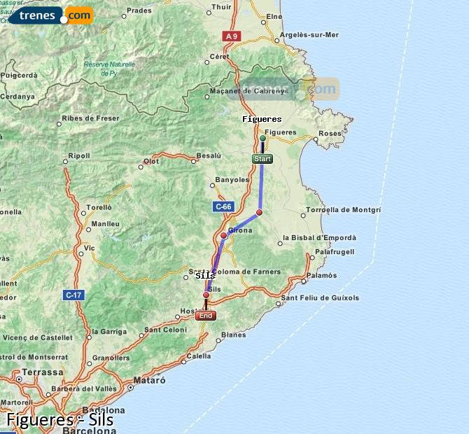 Enlarge map Trains Figueres to Sils