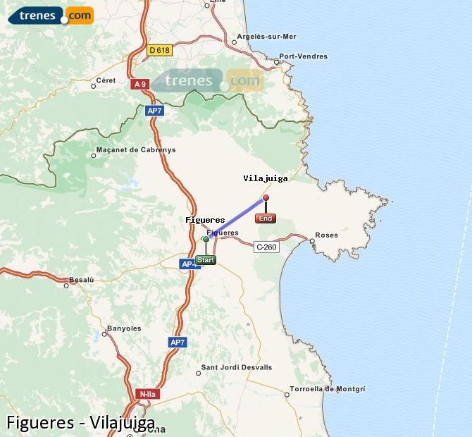 Karte vergrößern Züge Figueres Vilajuiga
