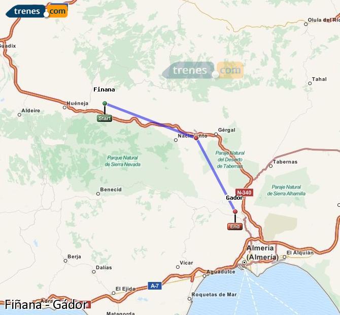 Enlarge map Trains Fiñana to Gádor