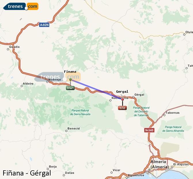 Enlarge map Trains Fiñana to Gérgal