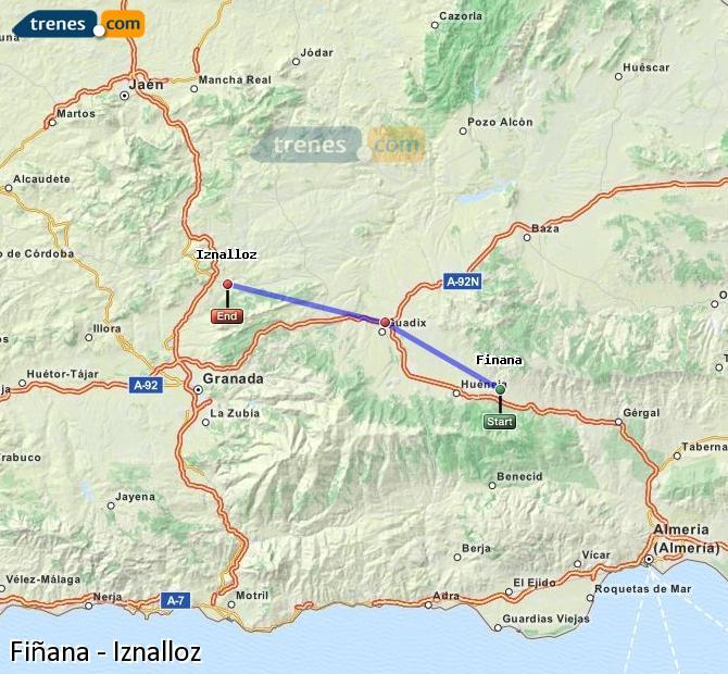 Agrandir la carte Trains Fiñana Iznalloz