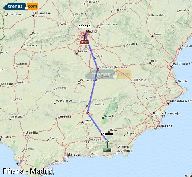 Ingrandisci la mappa Treni Fiñana Madrid