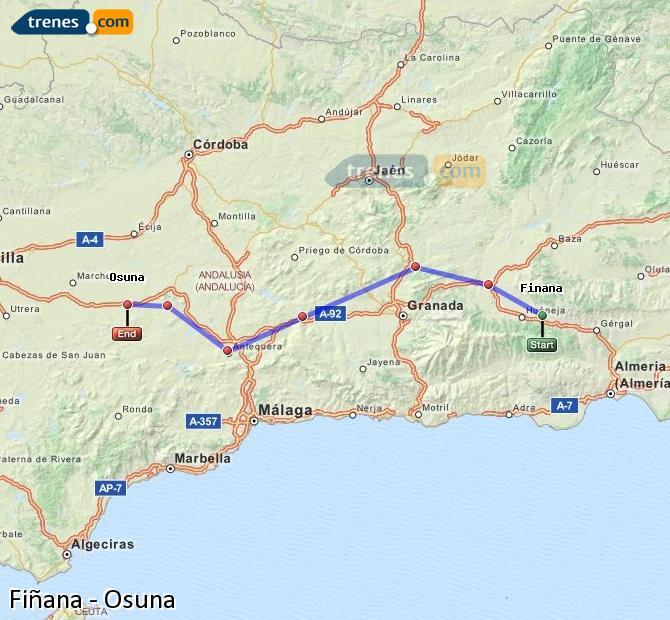 Ingrandisci la mappa Treni Fiñana Osuna
