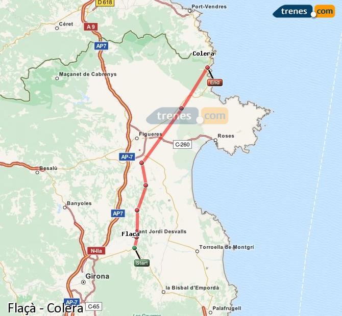 Ingrandisci la mappa Treni Flaçà Colera