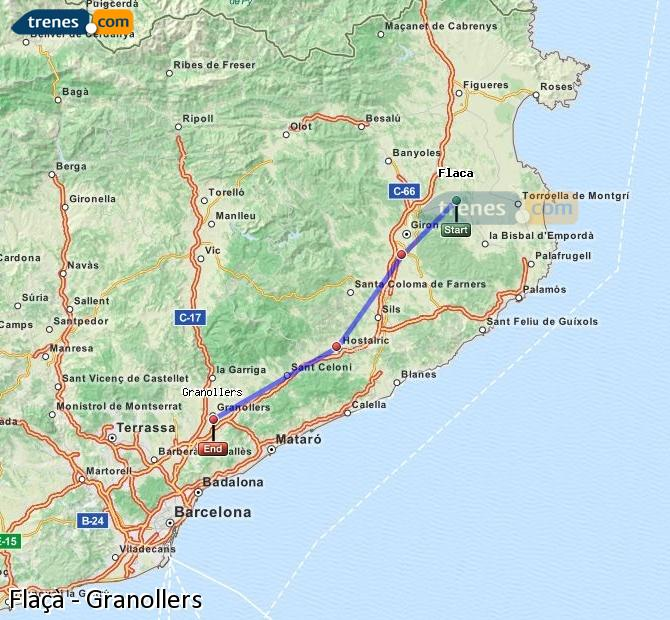 Enlarge map Trains Flaçà to Granollers