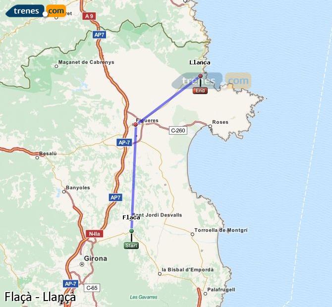 Ampliar mapa Comboios Flaçà Llançà