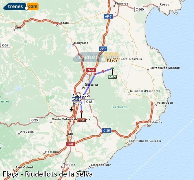 Ampliar mapa Trenes Flaçà Riudellots de la Selva