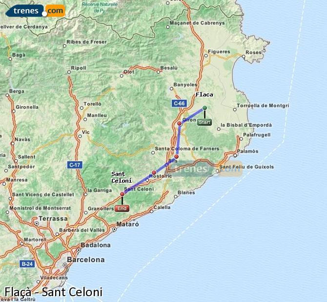 Ingrandisci la mappa Treni Flaçà Sant Celoni