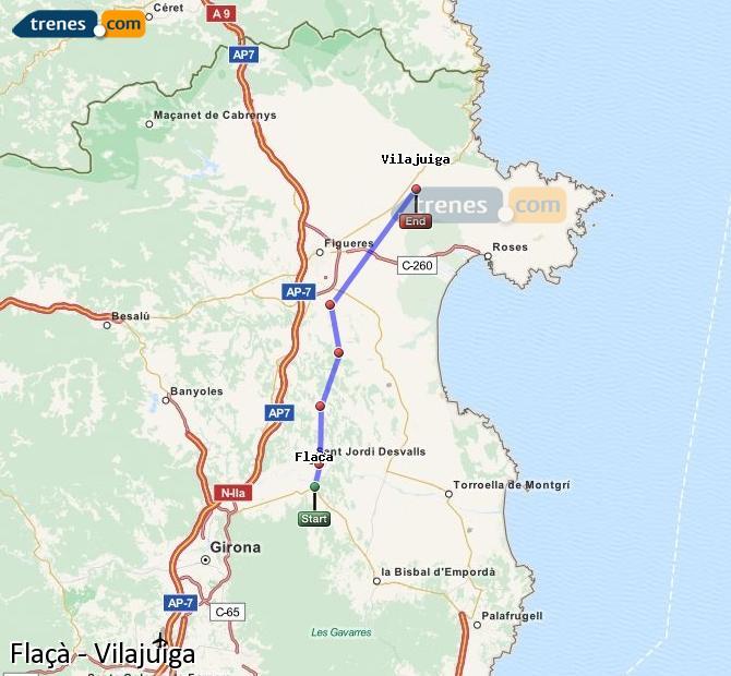 Ampliar mapa Comboios Flaçà Vilajuiga
