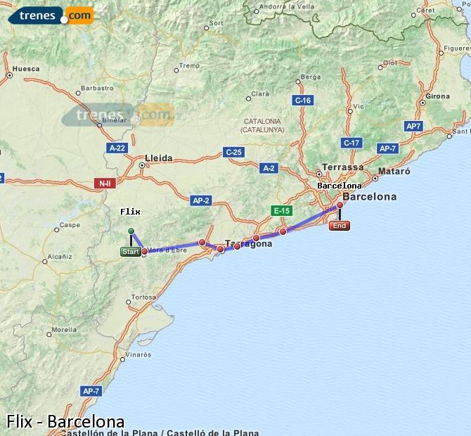 Enlarge map Trains Flix to Barcelona