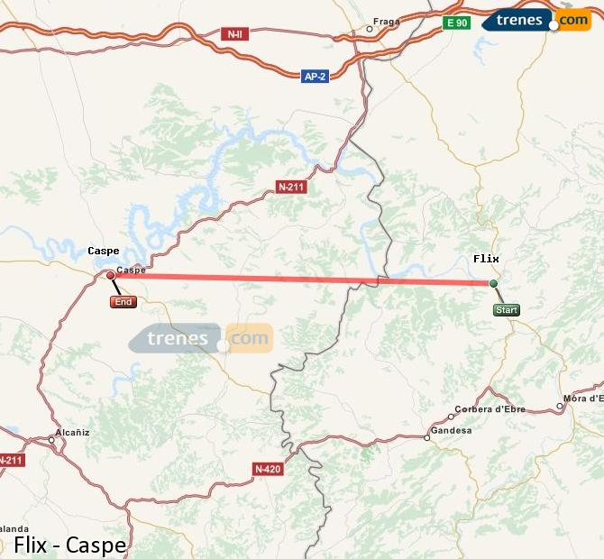 Ingrandisci la mappa Treni Flix Caspe