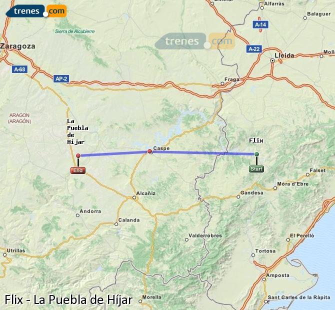 Ampliar mapa Trenes Flix La Puebla de Híjar