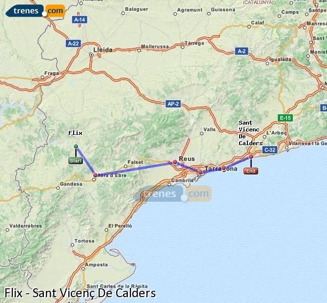 Enlarge map Trains Flix to Sant Vicenç De Calders