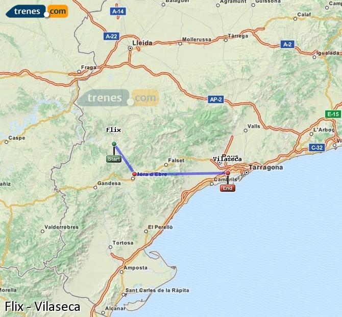 Enlarge map Trains Flix to Vilaseca