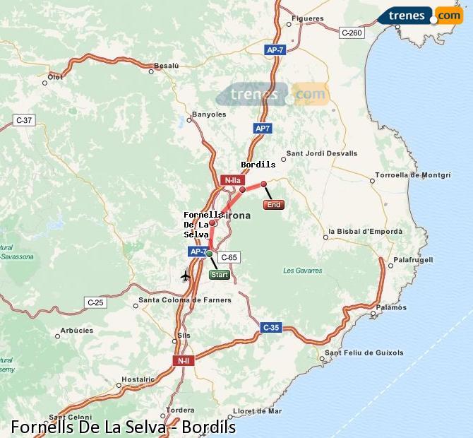 Ingrandisci la mappa Treni Fornells De La Selva Bordils