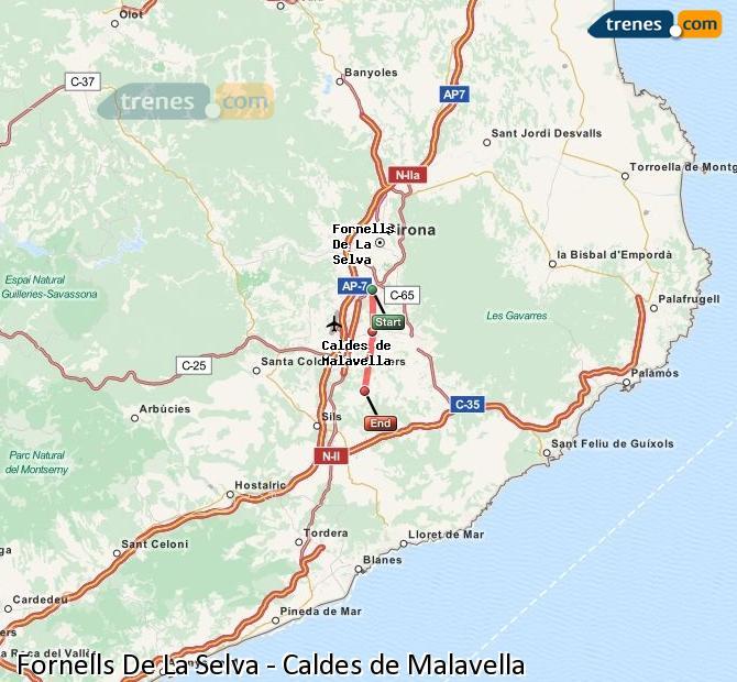 Enlarge map Trains Fornells De La Selva to Caldes de Malavella