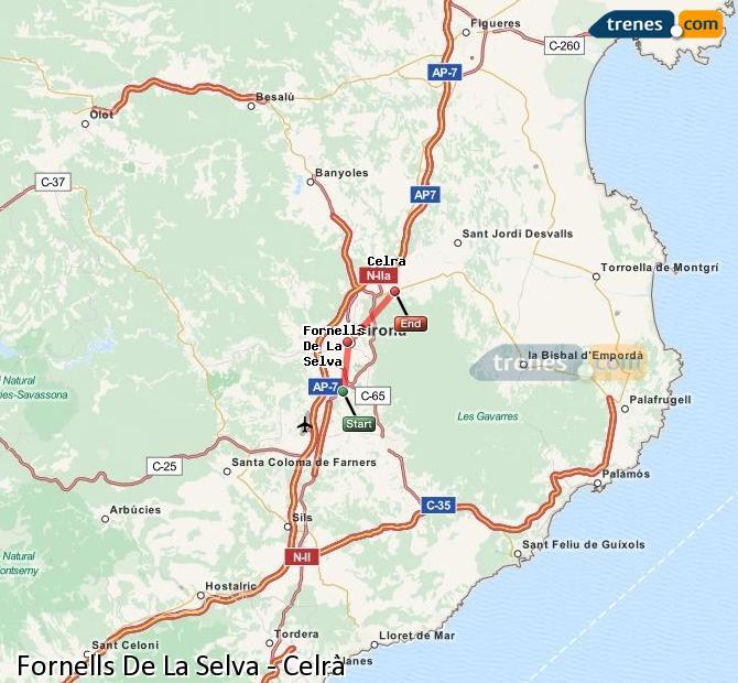 Enlarge map Trains Fornells De La Selva to Celrà