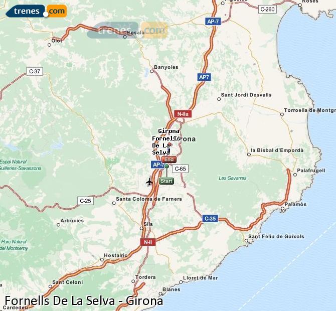 Agrandir la carte Trains Fornells De La Selva Girona