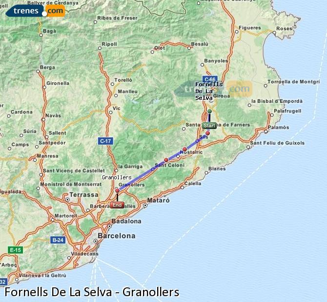 Enlarge map Trains Fornells De La Selva to Granollers