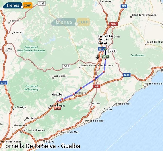Ingrandisci la mappa Treni Fornells De La Selva Gualba