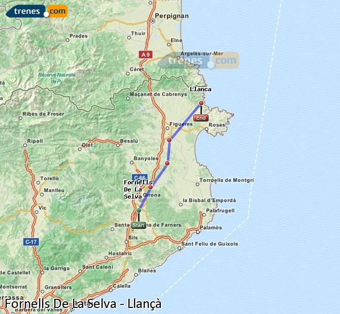 Ingrandisci la mappa Treni Fornells De La Selva Llançà