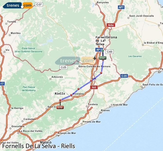 Enlarge map Trains Fornells De La Selva to Riells