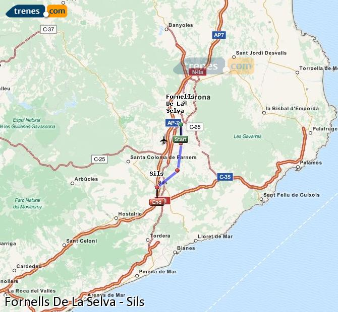 Enlarge map Trains Fornells De La Selva to Sils