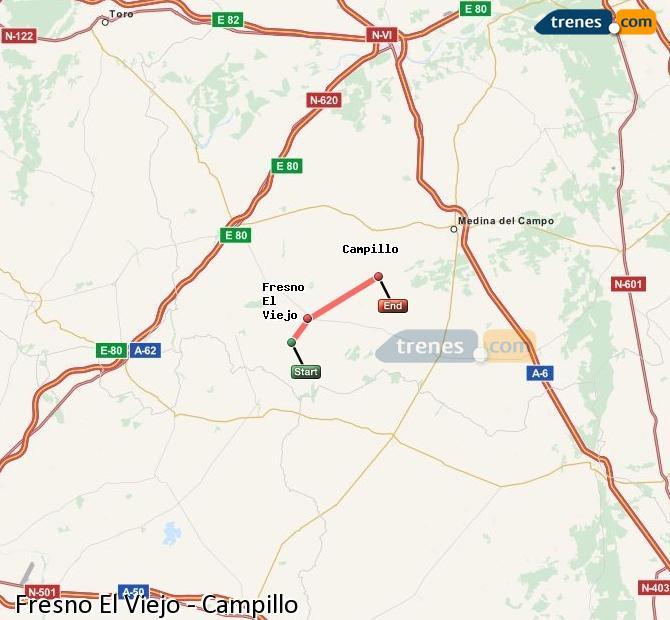 Enlarge map Trains Fresno El Viejo to Campillo