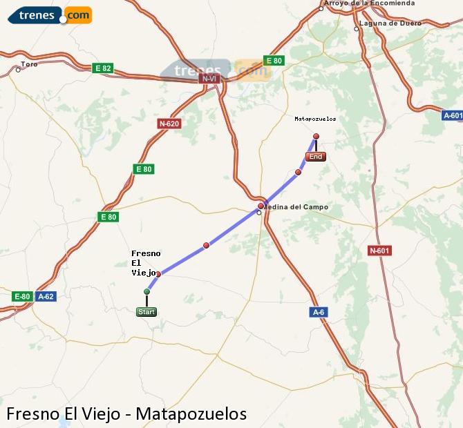 Enlarge map Trains Fresno El Viejo to Matapozuelos