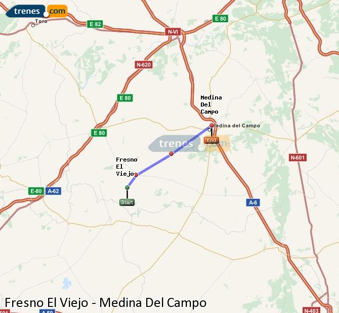 Enlarge map Trains Fresno El Viejo to Medina Del Campo
