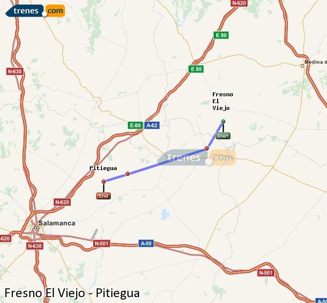 Enlarge map Trains Fresno El Viejo to Pitiegua