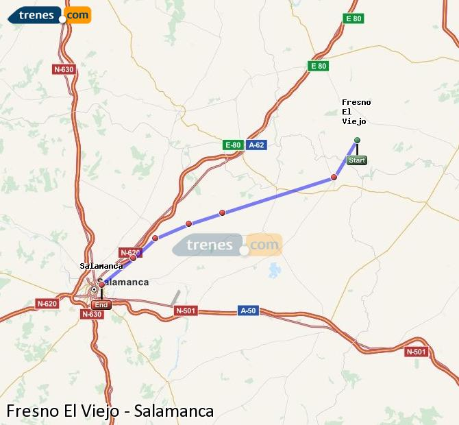 Enlarge map Trains Fresno El Viejo to Salamanca