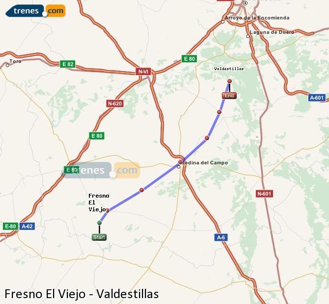 Karte vergrößern Züge Fresno El Viejo Valdestillas