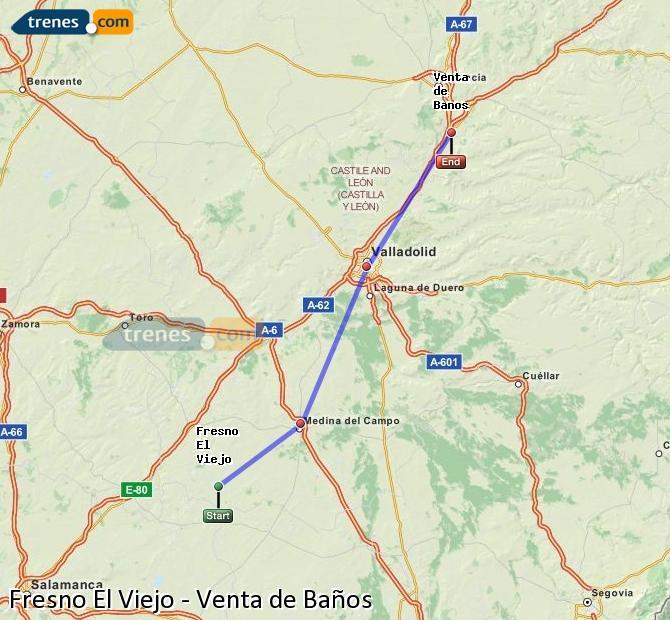 Enlarge map Trains Fresno El Viejo to Venta de Baños