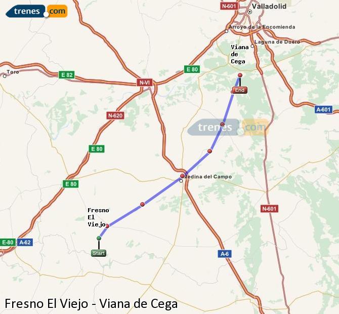 Enlarge map Trains Fresno El Viejo to Viana de Cega