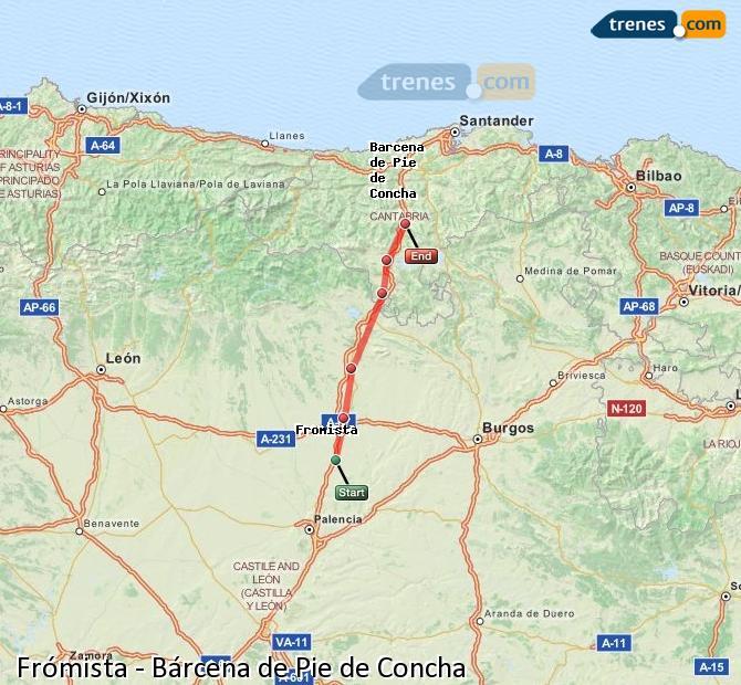 Agrandir la carte Trains Frómista Bárcena de Pie de Concha