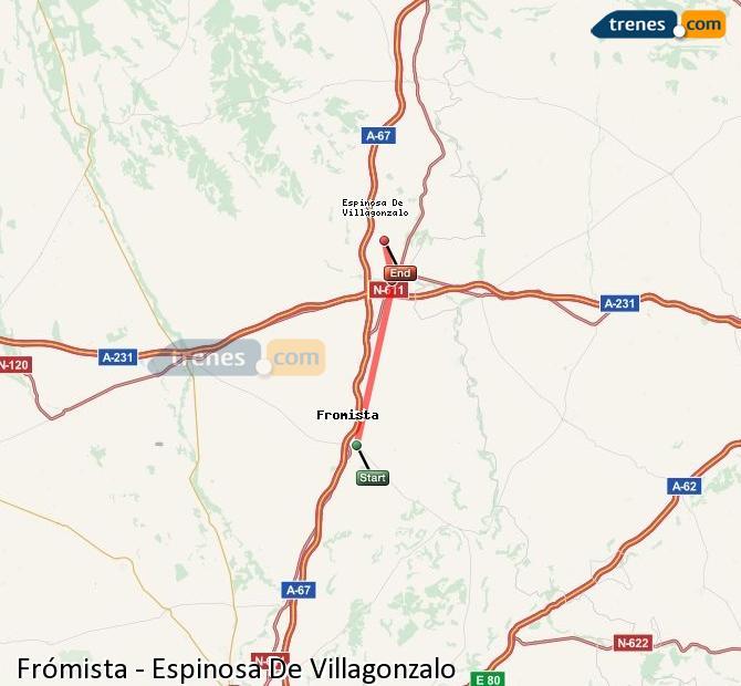 Enlarge map Trains Frómista to Spinosa De Villagonzalo