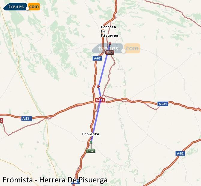 Enlarge map Trains Frómista to Herrera De Pisuerga