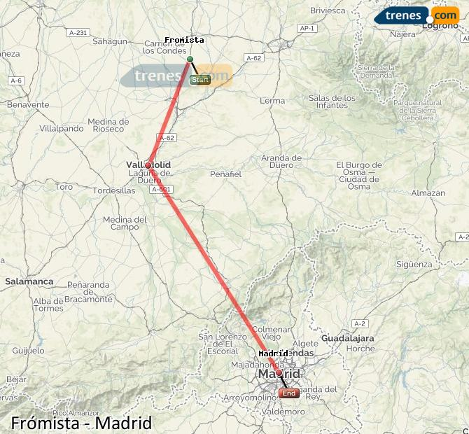 Karte vergrößern Züge Frómista Madrid