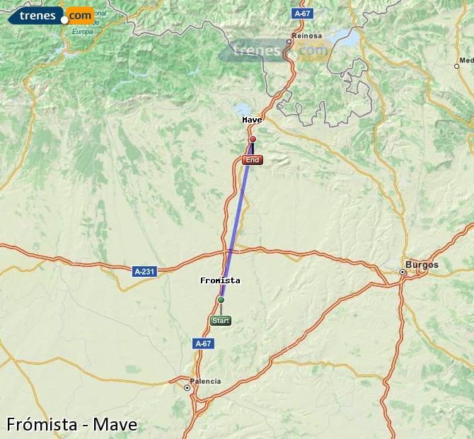 Karte vergrößern Züge Frómista Mave