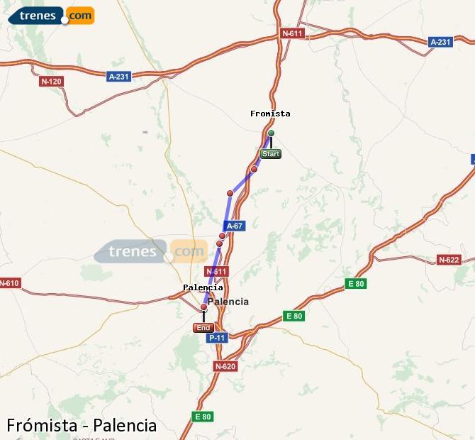 Enlarge map Trains Frómista to Palencia